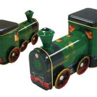 シルバークレーン緑の蒸気機関車化粧缶